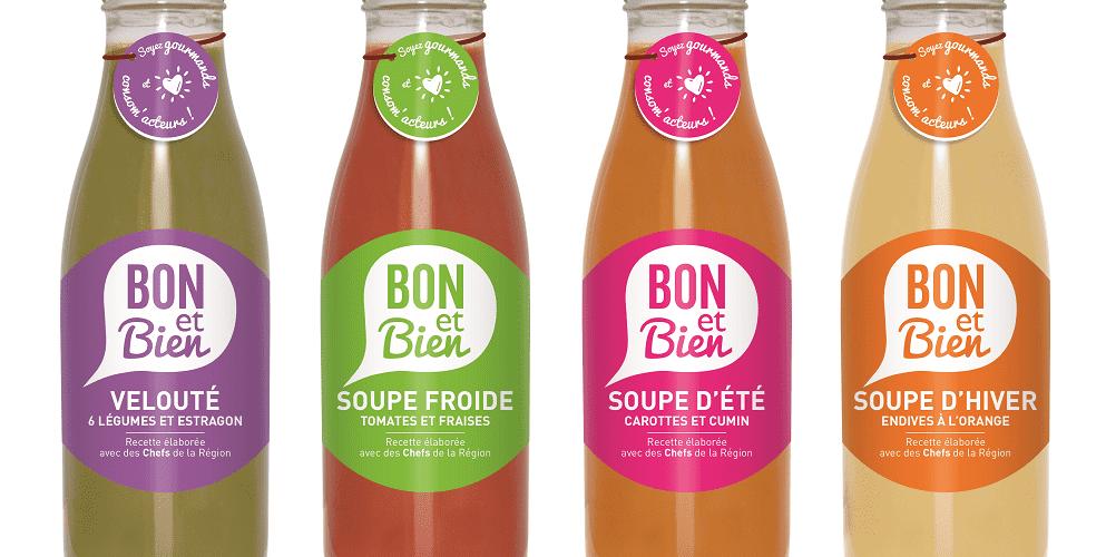 Quatre bouteilles de soupe Bon et Bien Mc Cain