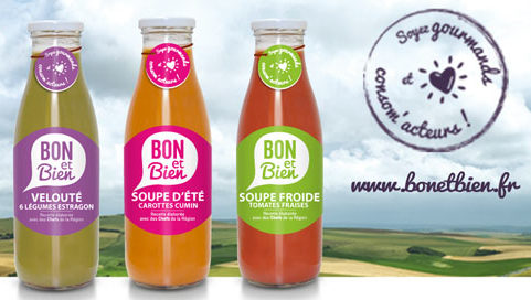 Trois bouteilles de soupe Bon et Bien Mc Cain